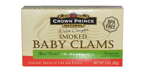 Копченые мелкие моллюски Crown Prince Natural, Smoked Baby Clams